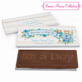 Deluxe Personalized Birth Announcement Story Time Embossed Chocolate Bar in Gift Box