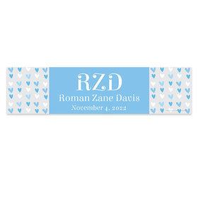 Personalized Baby Boy Announcements Blue Hearts 5 Ft. Banner