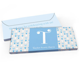 Deluxe Personalized Baby Boy Announcement Blue Hearts Chocolate Bar in Gift Box
