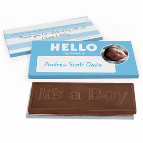 Deluxe Personalized Baby Boy Announcement Name Tag Chocolate Bar in Gift Box