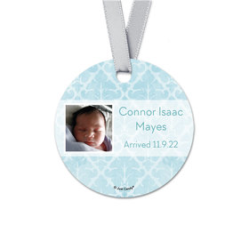 Personalized Round Baby Boy Light Blue Photo Birth Announcement Favor Gift Tags (20 Pack)