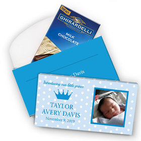 Deluxe Personalized Birth Announcement Polka Dots & Crown Ghirardelli Chocolate Bar in Gift Box