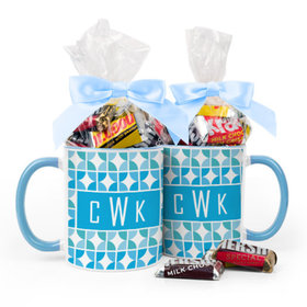 Personalized Baby Boy Announcement Pattern 11oz Mug with Hershey's Miniatures