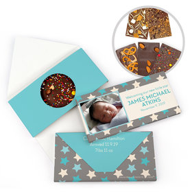 Personalized Bonnie Marcus Birth Announcement Baby Boy Star Boy Gourmet Infused Belgian Chocolate Bars (3.5oz)