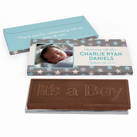 Deluxe Personalized Baby Boy Announcement Star Chocolate Bar in Metallic Gift Box