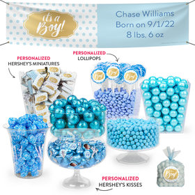 Personalized Boy Birth Announcement It's a Boy Polka Dots Deluxe Candy Buffet