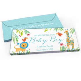 Deluxe Personalized Baby Boy Announcement Safari Snuggles Candy Bar Favor Box
