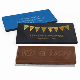 Deluxe Personalized Baby Boy Announcement It's a Boy Banner Chocolate Bar in Metallic Gift Box
