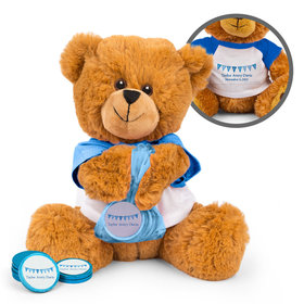 Personalized Birth Announcement It's a Boy Banner Teddy Bear with Chocolate Coins in XS Organza Bag