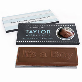Deluxe Personalized Baby Boy Announcement Heart Pattern Chocolate Bar in Gift Box