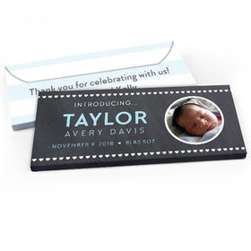 Deluxe Personalized Baby Boy Announcement Heart Pattern Candy Bar Favor Box
