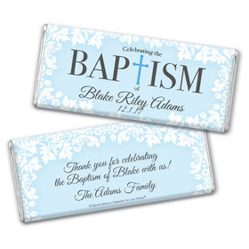 Personalized Bonnie Marcus Baptism Floral Filigree Chocolate Bar & Wrapper
