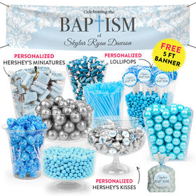 Personalized Boy Baptism Floral Filigree Deluxe Candy Buffet