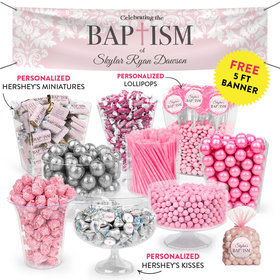 Personalized Girl Baptism Floral Filigree Deluxe Candy Buffet