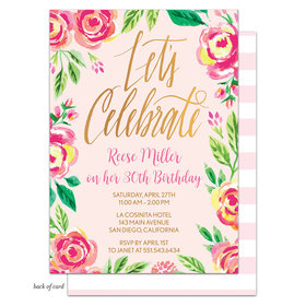 Bonnie Marcus Collection Personalized Watercolor Pink Blossoms Birthday Invitation