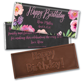 Bonnie Marcus Collection Personalized Embossed Chocolate Bar Chocolate & Wrapper Floral Embrace Birthday Favors