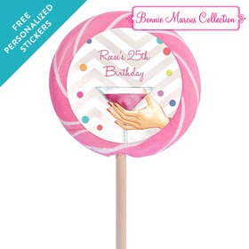 """Bonnie Marcus Collection Personalized 3"""" Swirly Pop Here's to You (12 Pack)"""