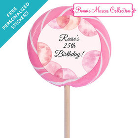 """Bonnie Marcus Collection Personalized 3"""" Swirly Pop Blithe Spirit Birthday (12 Pack)"""