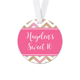 Personalized Round Shimmering Stripes Birthday Favor Gift Tags (20 Pack)