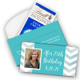 Deluxe Personalized Bonnie Marcus Birthday Chevron Photo Lindt Chocolate Bar in Gift Box (3.5oz)