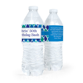 Personalized Birthday Beautiful Blues Water Bottle Sticker Labels (5 Labels)