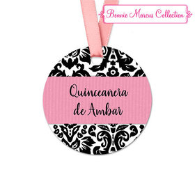 Personalized Round Pattern Quinceañera Favor Gift Tags (20 Pack)