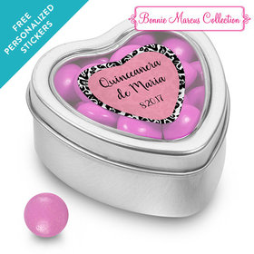 Bonnie Marcus Collection Personalized Small Heart Tin Quinceañera (25 Pack)