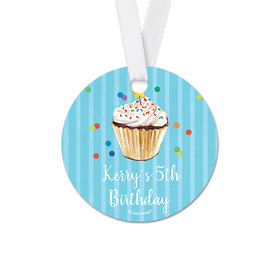 Personalized Round Cupcake Dazzle Birthday Favor Gift Tags (20 Pack)