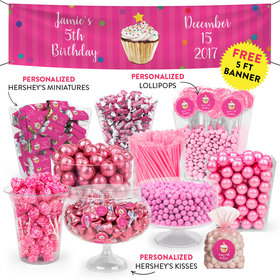 Personalized Kids Birthday Cupcake Dazzle Themed Deluxe Candy Buffet