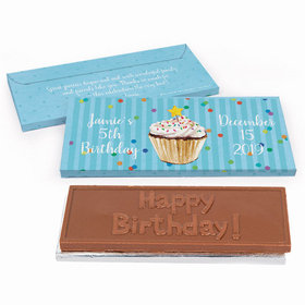 Deluxe Personalized Birthday Cupcake Dazzle Embossed Chocolate Bar in Gift Box