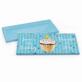 Deluxe Personalized Birthday Cupcake Dazzle Chocolate Bar in Gift Box