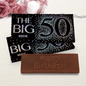 Deluxe Personalized Birthday Big 5-0 Chocolate Bar in Metallic Gift Box