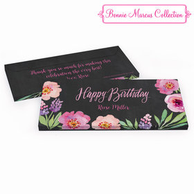 Deluxe Personalized Birthday Charcoal Floral Embrace Hershey's Chocolate Bar in Gift Box