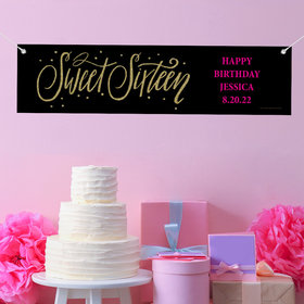 Personalized Birthday Sweet 16 Gold Dots Banner