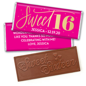 Personalized Bonnie Marcus Sweet 16 Pink & Gold Embossed Chocolate Bar