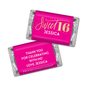 Personalized Bonnie Marcus Sweet 16 Pink & Gold Hershey's Miniatures