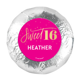"""Personalized Bonnie Marcus Sweet 16 Pink & Gold 1.25"""" Stickers (48 Stickers)"""