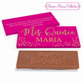 Deluxe Personalized Quinceaera Bonnie Marcus Gold Sparkle Embossed Chocolate Bar in Gift Box