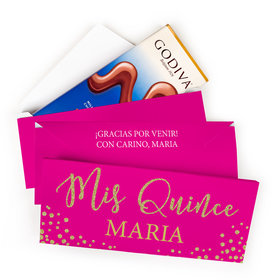 Deluxe Personalized Bonnie Marcus Quinceanera Gold Sparkle Godiva Chocolate Bar in Gift Box (3.1oz)