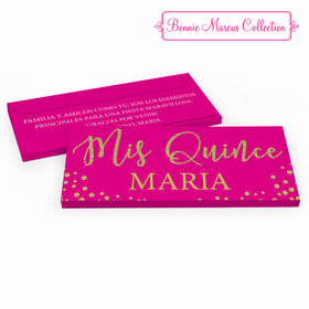 Deluxe Personalized Quinceaera Bonnie Marcus Gold Sparkle Chocolate Bar in Gift Box