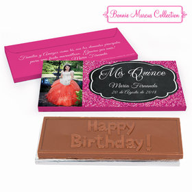 Deluxe Personalized Quinceaera Bonnie Marcus Pink Sparkle Embossed Chocolate Bar in Gift Box