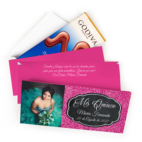 Deluxe Personalized Bonnie Marcus Quinceanera Pink Sparkle Godiva Chocolate Bar in Gift Box (3.1oz)