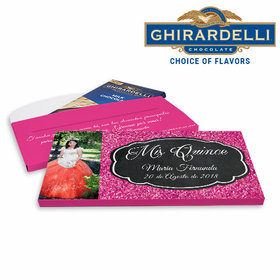 Deluxe Personalized Bonnie Marcu Quinceañera Pink Sparkle Ghirardelli Chocolate Bar in Gift Box