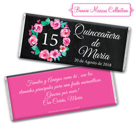 Personalized Bonnie Marcus Quinceanera Wreath Chocolate Bar & Wrapper
