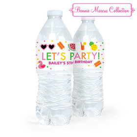 Personalized Birthday Tropical Water Bottle Sticker Labels (5 Labels)