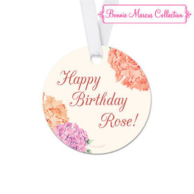 Personalized Round Blooming Joy Birthday Favor Gift Tags (20 Pack)