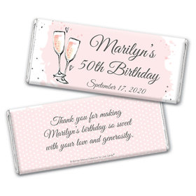 Personalized Bonnie Marcus Birthday Bubbly Party Pink Chocolate Bar Wrappers Only