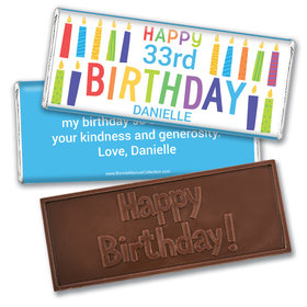 Personalized Bonnie Marcus Birthday Colorful Candles Embossed Chocolate Bars
