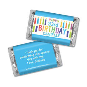 Personalized Bonnie Marcus Birthday Colorful Candles Mini Candy Bar Wrapper