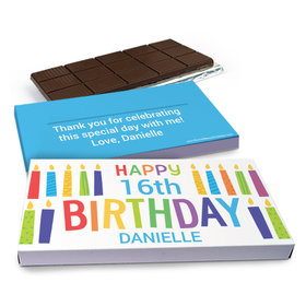 Deluxe Personalized Birthday Colorful Candles Chocolate Bar in Gift Box (3oz Bar)